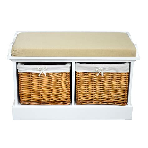 wicker storage bench with cushion foxhunter wood storage bench seat with 2 3 wicker basket