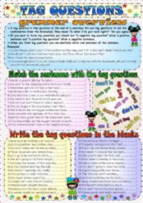 free printable question tags exercises tag questions esl printable worksheets and exercises