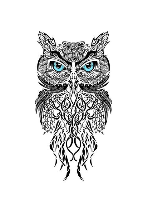black and white owl drawing tattoos piercings