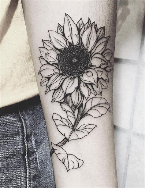 black and white sunflower tattoo designs 20 of the most boujee sunflower ideas arm