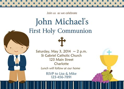 Communion Invitation Card Template by Holy Communion Invitation Boys Communion