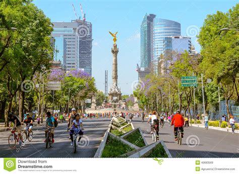 recaudanet ciudad de mxico sunday 180 s bikers in paseo de la reforma mexico editorial