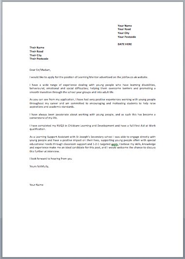 exle covering letter application uk covering