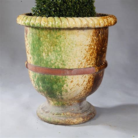 pair of italian large glazed terracotta garden pots for