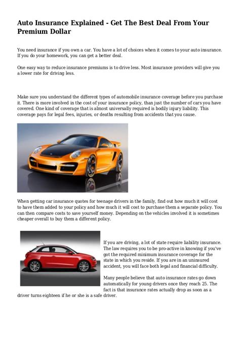 Auto Insurance Explained ? Get The Best Deal From Your