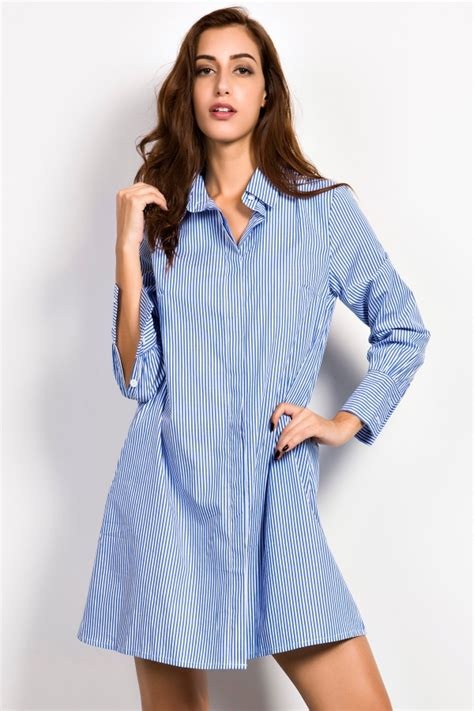 Big Stripe Top Or Dress casual blue white stripe shirt dress oasap