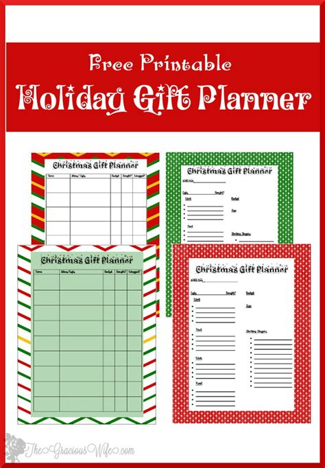 printable holiday organizer christmas gift planner printable the gracious wife