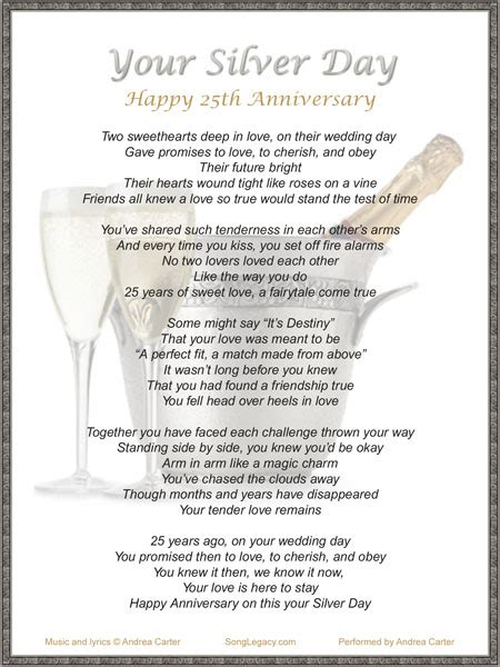Silver Wedding Anniversary Songs Lyrics by Your Silver Day Original 25th Gift Anniversary Song