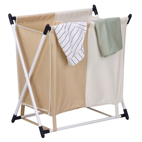 Foldable Laundry Her 2 Sections Washing Clothes Basket Foldable Laundry