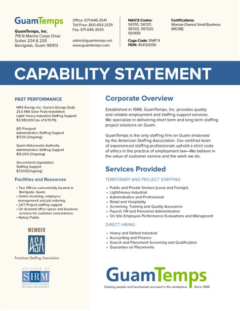 capability statement guamtemps