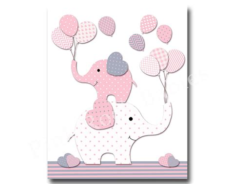 Pink Elephant Nursery Decor Pink Nursery Wall For Baby Room Decor Pink Elephant