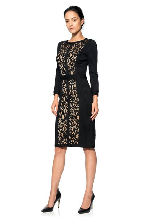 3 4 Sleeve Lace Dress lace boatneck 3 4 sleeve dress tadashi shoji