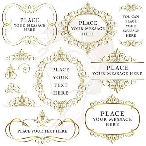 Wedding Logo Border by Gold Flourish Borders Frames Clip Digital Vintage