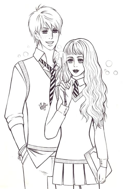 Hermione And Ron Kissing Coloring Page Coloring Pages Hermione Coloring Pages