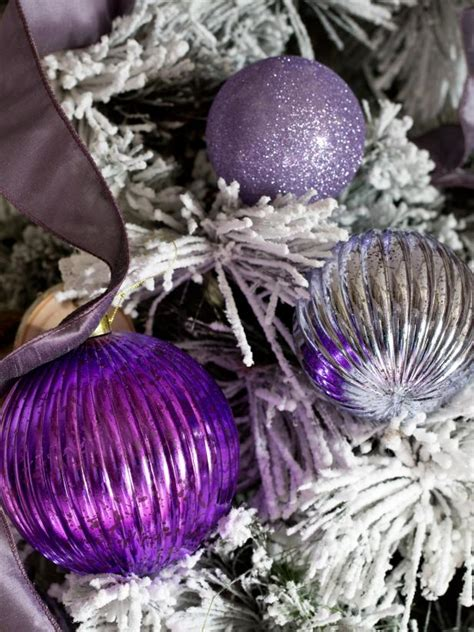 purple tree ornaments reflective purple tree ornaments hgtv