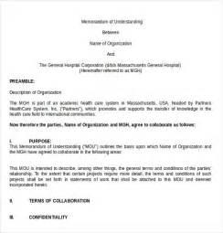 Memo Of Understanding Template by Memorandum Of Understanding Template 12 Free Word Pdf