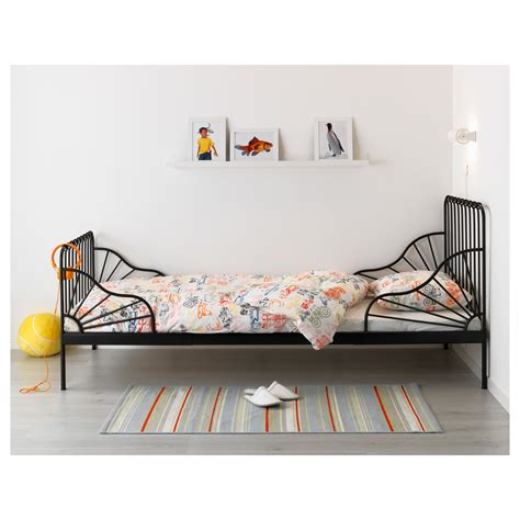 bed frame with slatted bed base minnen ext bed frame with slatted bed base black 80x200 cm