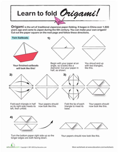 How To Write Origami In Japanese - origami sailboat worksheet education