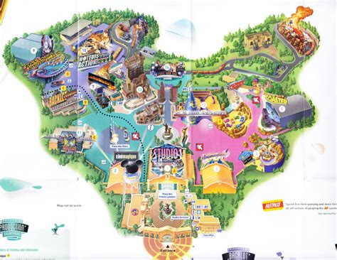 disney studios map walt disney studios park 2008 park map