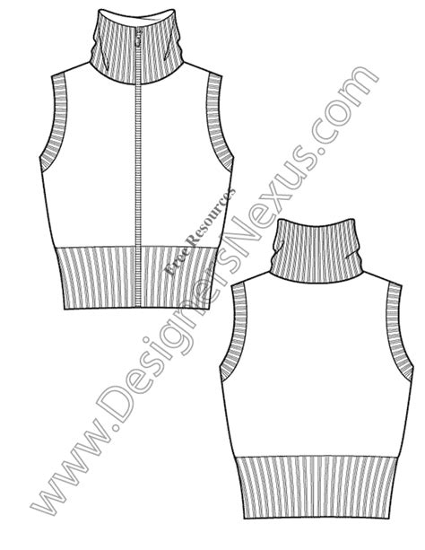 vest top template v7 sweater vest free illustrator flat sketch