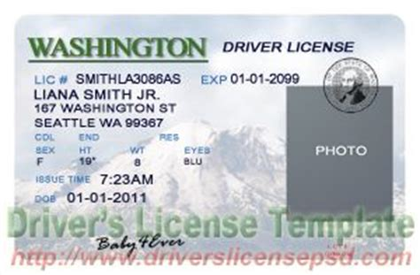 washington state id card template drivers license drivers license drivers license