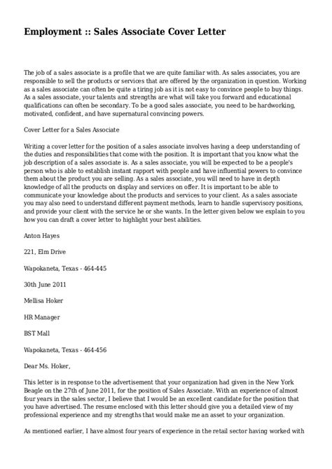 Cover Letter For Sales Associate by Employment Sales Associate Cover Letter