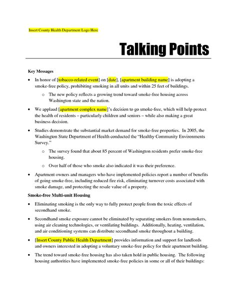 talking points template word gse bookbinder co