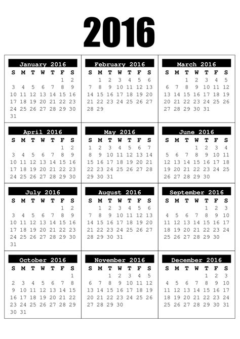 printable calendar 2016 entire year 2016 full year calendar free craft downloads