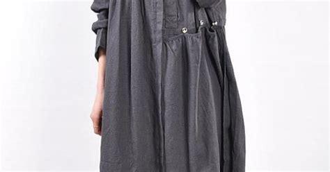 Blouse Babydol Katun Linen Import Jumbo linen pleated babydoll sleeved dress gray by