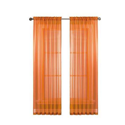 wide curtain rod window elements diamond sheer orange rod pocket extra wide