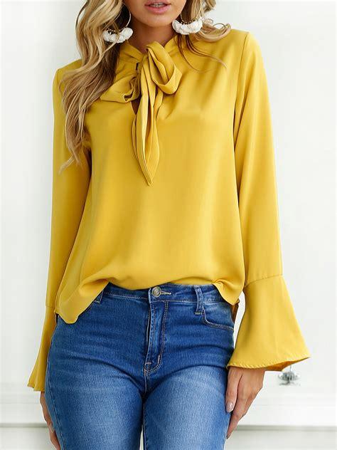 Tie Neck Sleeve Shirt yellow tie neck bell cuff sleeve shirt choies