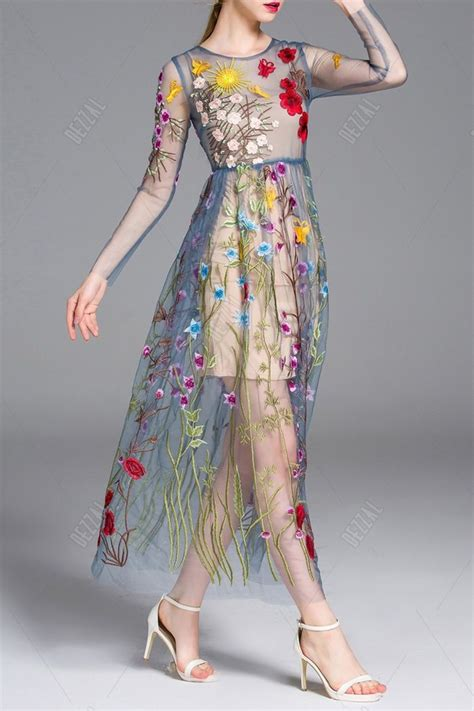 Flowers Embroidery Dress 103 best vestidos de largos images on