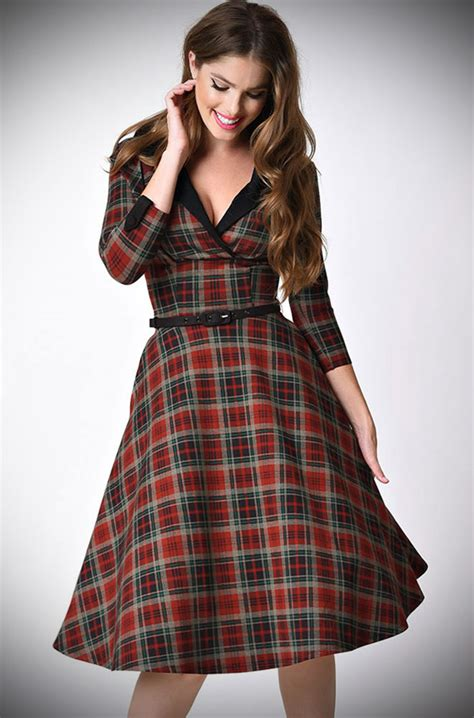 swing dress tartan trudy tartan swing dress a 1950s inspired tartan swing