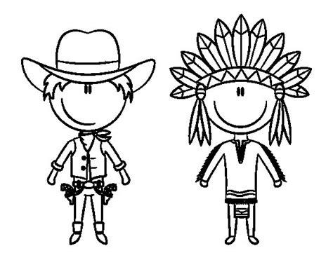 imagenes para colorear indios dibujo de vaquero e indio contentos para colorear