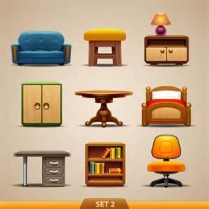 9款书桌书架椅子卡通家具矢量素材 生活百科 懒人图库
