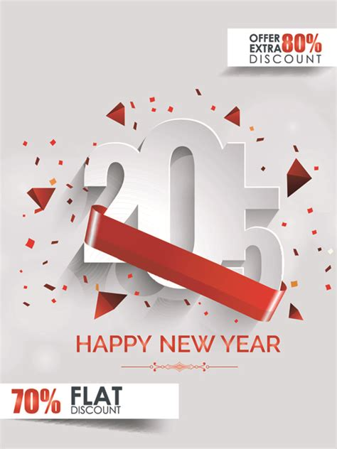 new year cheap original design 2015 new year discount flyer cover vector