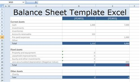 excel balance sheet template madrat co