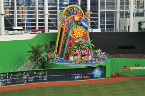 miami ballpark uses brilliant color in glass