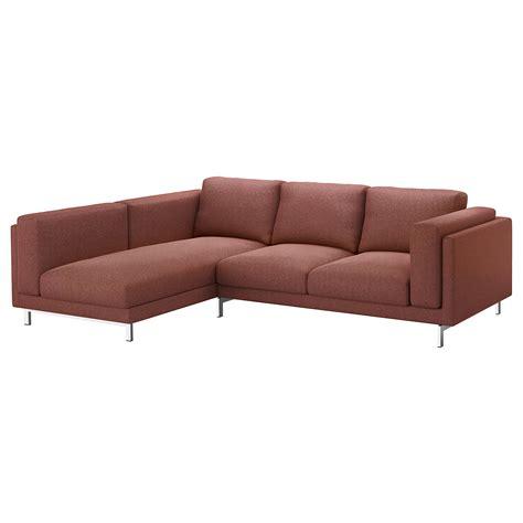rust sofa nockeby two seat sofa w chaise longue left tallmyra rust