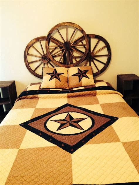 wagon wheel headboard my hubby s super cute and cheap idea for a guest room