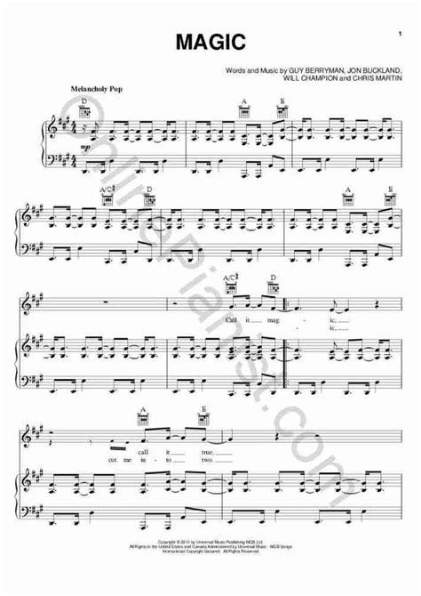 tutorial piano coldplay magic piano sheet music onlinepianist