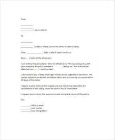 Termination Letter To Insurance Company Sle Termination Letters