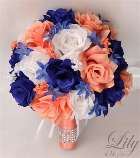 coral flowers coral navy blue 17 package wedding bouquet silk flowers bridal