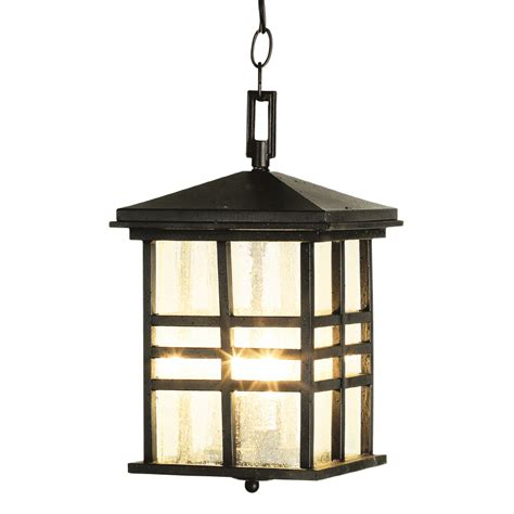 Outdoor Porch Lights Lowes shop bel air lighting 14 in h black outdoor pendant light at lowes