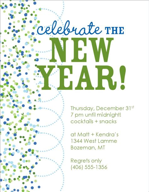 new year invite templates free new years invitation