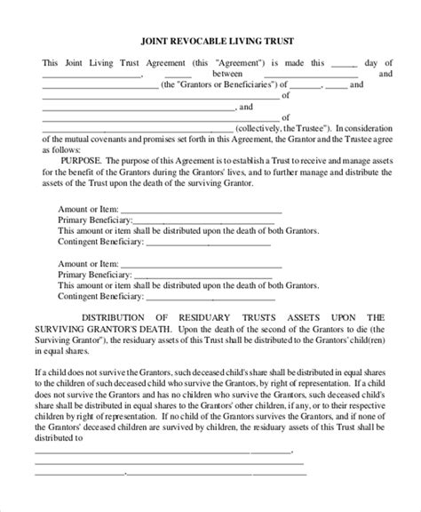 living trust template sle living trust form 7 free documents in pdf