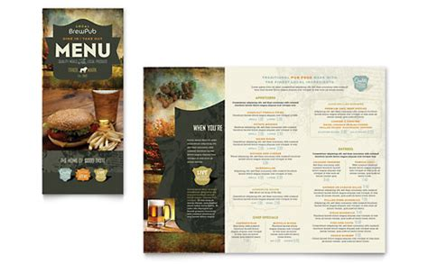 brew pub tri fold menu templates word publisher