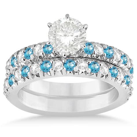 Topaz 5 14ct blue topaz bridal set setting 18k white gold 1