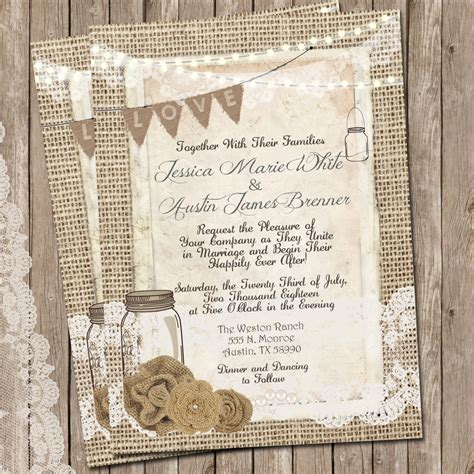 rustic wedding invitation burlap and lace wedding invitation