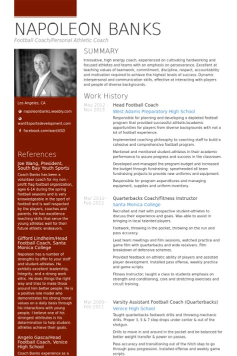 Football Coach Resume by Coach Resume Sles Visualcv Resume Sles Database